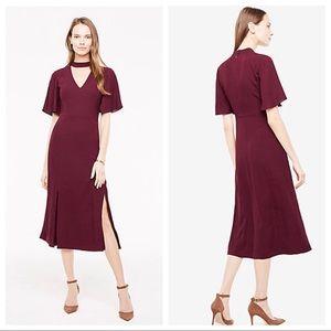 Ann Taylor burgundy choker dress flutter sleeve